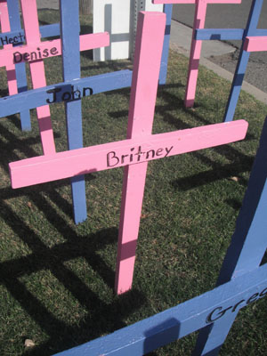 Pink cross erected after 14 year old aborted her baby